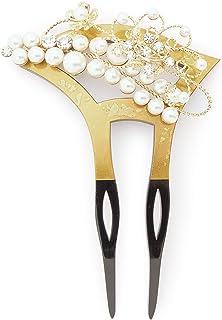 (ソウビエン) バチ型簪 金色 ゴールド 黒 花 フェイクパール ラインストーン 二本足 髪飾り かんざし フォーマル ヘアアクセサリー 日本製