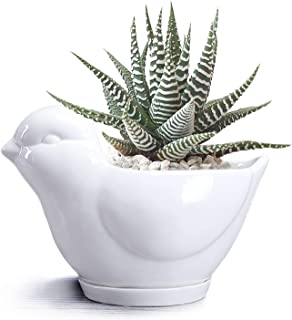 Cute Animals Ceramic Flower Pot Animal Succulent Planter Pot White Ceramic Cactus Planter Pot Flower Plant Container Desk ...