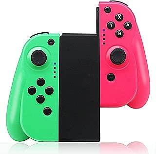 Switch コントローラー Maxku Joy-Con の代用品 (L)グリーン/(R)ピンク グリップ付き ワイヤレス接続 HD振動 ジャイロセンサー機能搭載 日本語説明書付き