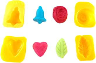 Flexible Molds - Leaf, Rose, Heart, Bell (4 Cavity) - Cream Cheese Mint Molds - Candy Melts - Fondant - Caramels - Soft Candy Molds