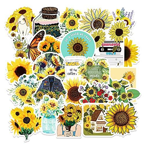 50 pegatinas de girasol Doodle pegatinas pequeñas frescas extraíbles para monopatín taza de agua para equipaje