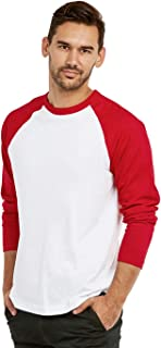 Men's Full Length Sleeve Raglan Cotton Baseball Tee Shirt