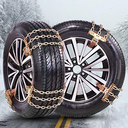 FUN-DRIVING Tire Chains,Snow Chains for SUV,Truck,RV of Tire Width 230-315 mm (9-12.4 inch),Heavy Duty,Thickened,Adjustable,Durable (6 Pack)