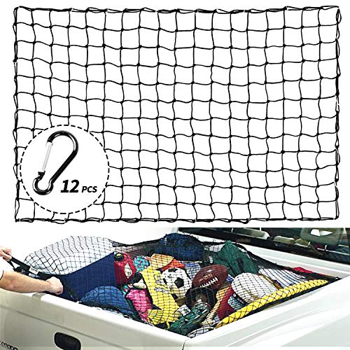 XCAR 4#039 X 6#039 Heavy Duty Bungee Cargo Net Stretches to 8#039 x 12#039 with 12pcs Aluminium Hooks  4quot X 4quot Mesh  for Pickup Truck Bed Trailer SUV Rooftop Roof Rack Basket Travel Luggage Rack