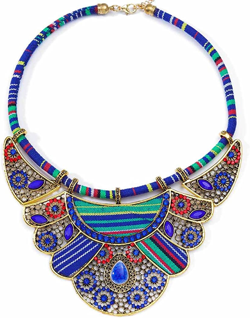 Yokawe African Ethnic Chunky Choker Necklace Bib Egypt Tribal Collar Necklaces Multi Layers Indian Statement Necklaces Jewelry for Women