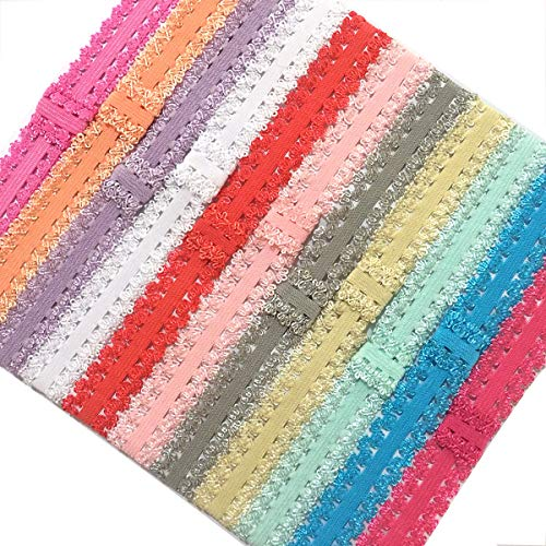 Yazon 24pcs Baby Girls 3/4'' Lace Headbands Toddler Elastic Frilly Headbands Stretchy Interchangeable Hair Bands DIY Head Wear for Bows Flower …