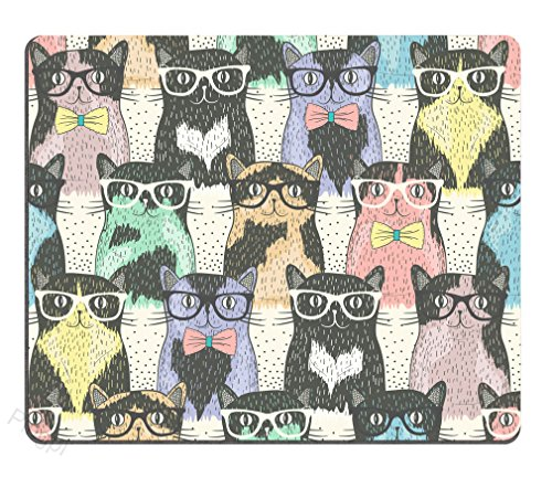 Pingpi Funny Mouse Pad Custom,Hipster Cute Cats Wear Sunglasses Mouse pad 9.5 X 7.9 Inch