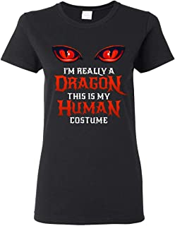 Halloween Dragon Costume Not Human Eyes Womens T-Shirt This is My Human Costume I'm Really A Dragon Black
