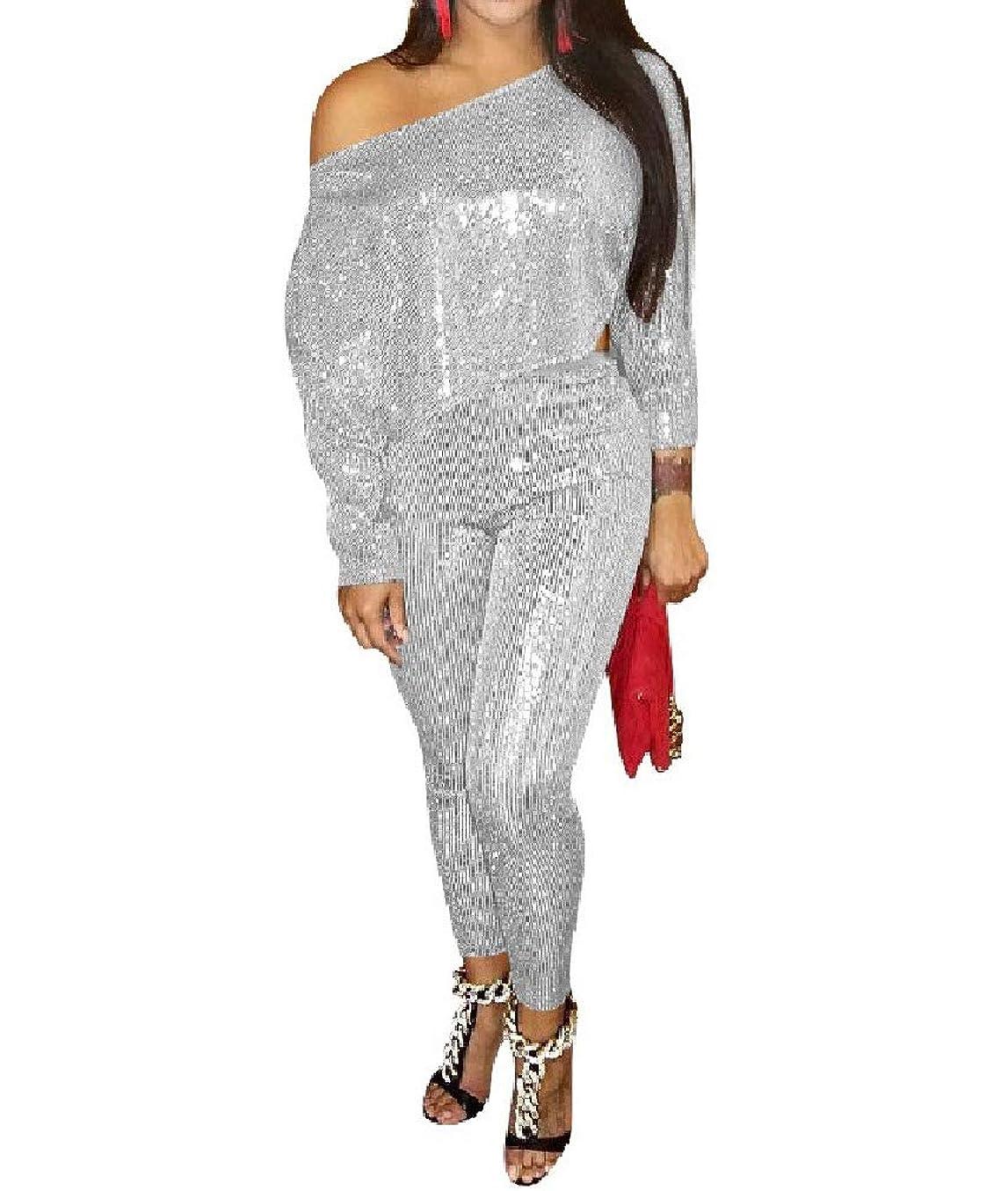 これらペイン火山学者Womens 2 Piece Outfits Long-Sleeve Glitter Outfits Sequin Sports Suit