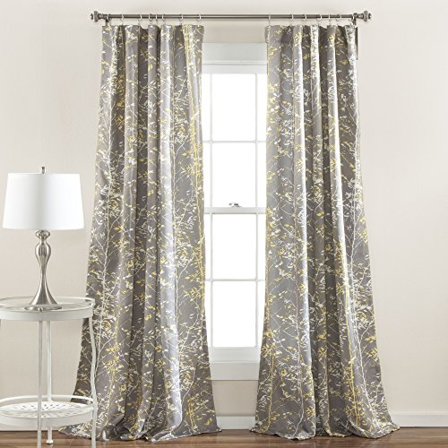 Lush Decor Forest Window Curtain Panel (Set of 2), 84 x 52, Gray/Yellow
