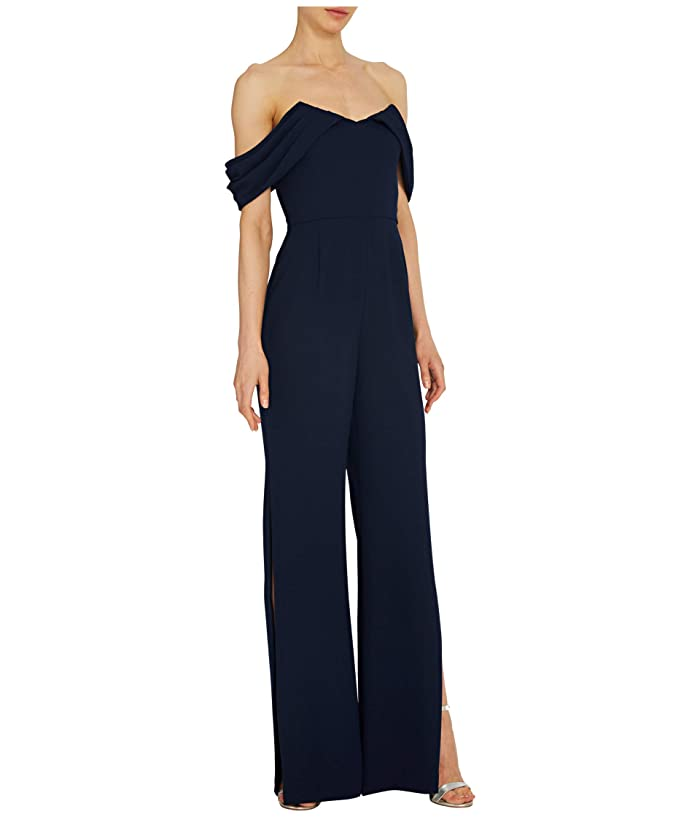 ML Monique Lhuillier  Off-the-Shoulder Crepe Jumpsuit with Side Slits (Navy) Womens Jumpsuit and Rompers One Piece
