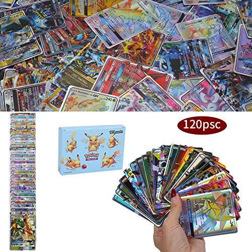 120 Piezas Pokemon Cartas, Pokemon Trading Cards, Sun & Moon Series, Juego de Cartas, GX Mega Cartas, 115 GX+5 Mega