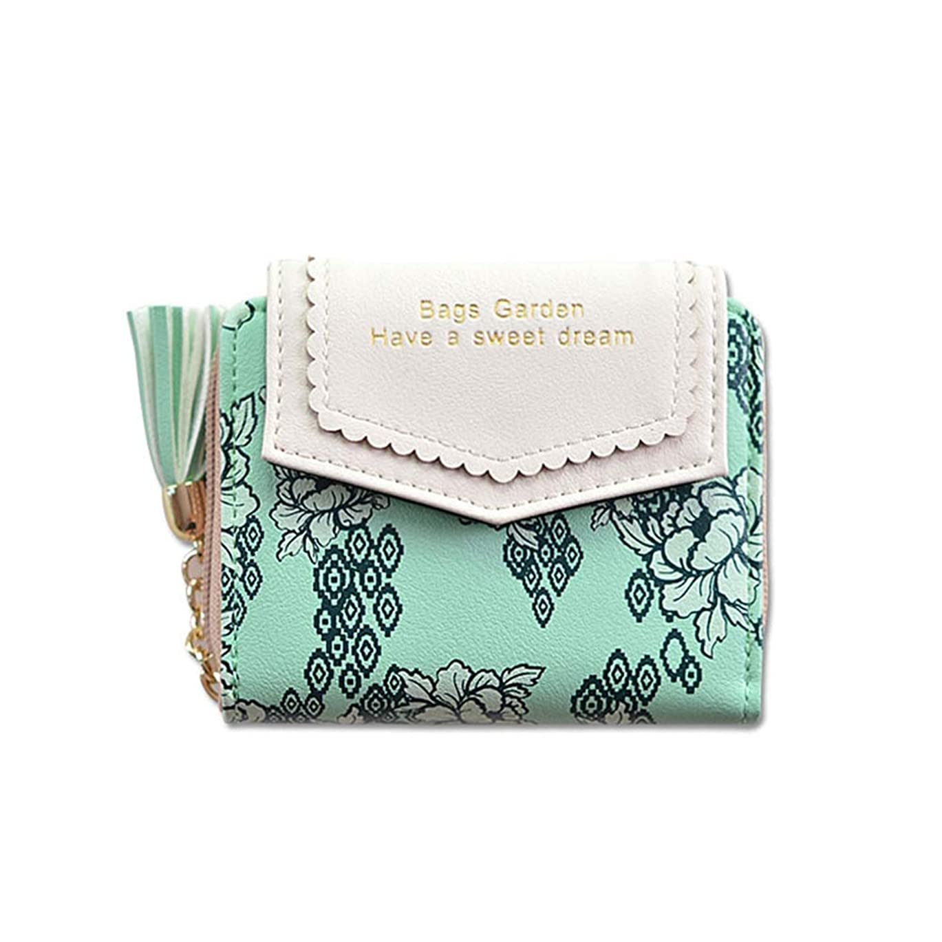 コミットくつろぎ自然公園[QIFENGDIANZI]二つ折り財布 レディース 花柄 かわいい ミニ財布 がま口 大容量 小銭入れ カードケース 携帯便利 女性用 プレゼント おしゃれ 小型 軽量 仕切り 11.5 * 9.5 * 3CM