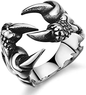 Mens Stainless Steel Ring Gothic Wolf Dragon Claw Tribal Punk Biker Polished Silver Size 12