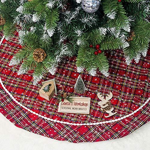Leeko Weihnachtsbaumdecken, Weihnachtsbaum Rock Dekoration, Schutz vor Tannennadeln Weihnachtsbaumdecke Rund für Weihnachten (Rot)