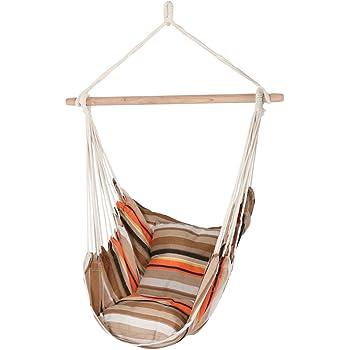 Amazon Com Sunnydaze Hanging Rope Hammock Chair Swing Double Cushion Hanging Chair Seat For Backyard Patio 265 Pound Capacity Beach Sunrise Sunnydaze Decor Garden Outdoor