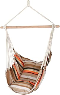 Sunnydaze Hanging Hammock Chair Swing, Beach Sunrise, for Indoor or Outdoor Use, Max Weight: 264 pounds, Includes 2 Seat Cushions