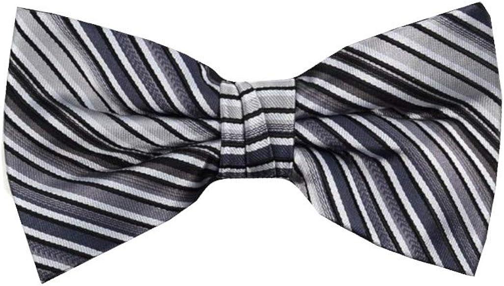 Men's Contemporary Stripe Pre Tied Bow Tie & Round Pocket Square Hankie Set