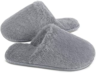 Women's Slippers Soft Faux Bunny Fur Memory Foam House Slippers, Slip on Slippers for Ladies with Anti-Slip Rubber Sole