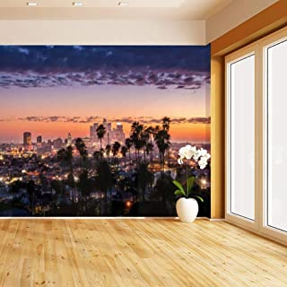 HIMURAL Los Angeles Downtown Self Adhesive Peel and Stick Wallpaper Self Stick Mural Photos Home Wall Paper Sticker Wall Mural Decals Fresco Posters Removable