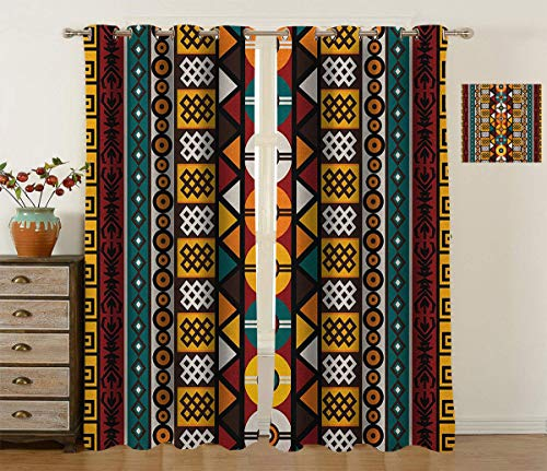 Fabuyale Kente Pattern Grommet Curtain, Vertical Borders Inspired by Primitive African Cultures Geometrical Design Modern Blackout Curtains for Office, 2Pcs Each 36' Wx63 L Multicolor