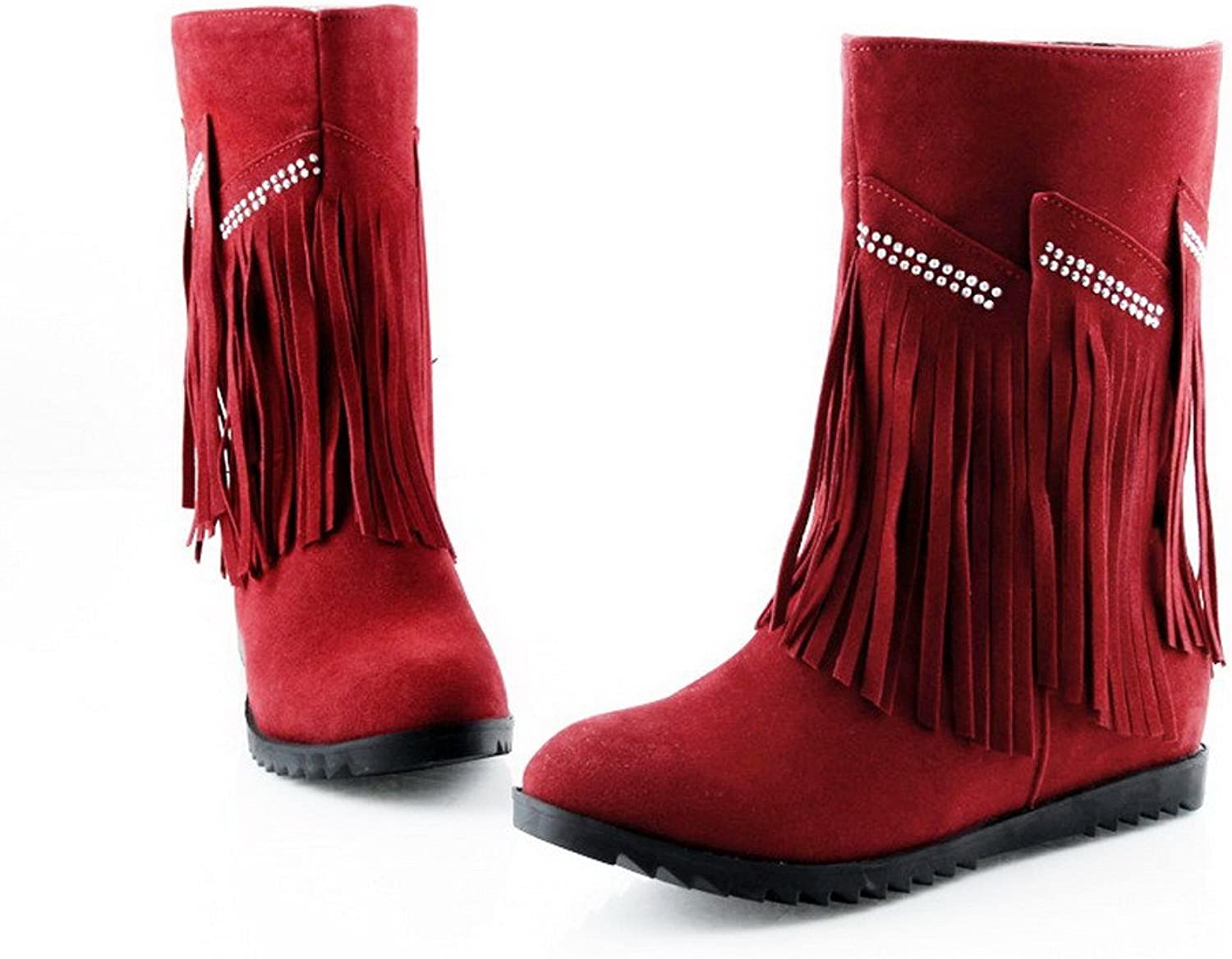 AmoonyFashion Womens Closed Round Toe Low Heels PU Short Plush Solid Boots with Tassels and Glass Diamond, Red, 7.5 B(M) US