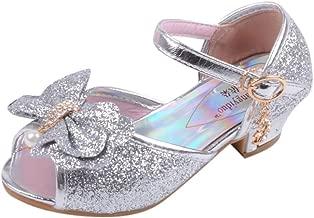 ساخنة! ✭ أحذية حفلات الأطفال بناتي ␞ MS-SM للأطفال الرضع الرضع من اللؤلؤ الكريستالي بلينغ فيونكة ذات عقدة واحدة للأميرة المفتوحة عند الأصابع من عمر 3.5-11 عامًا