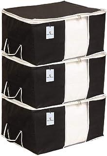 Kuber Industries Underbed Storage Bag, Storage Organiser, Blanket Cover Set of 3 - Black, Extra Large Size-CTKTC014136