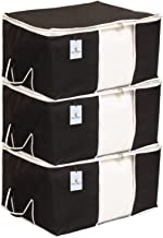 Kuber Industries Underbed Storage Bag, Storage Organiser, Blanket Cover Set of 3 - Black, Extra Large Size-CTKTC014136