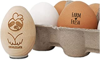 Farm Fresh with Heart Chicken Egg Rubber Stamp - 1/2 Inch Mini
