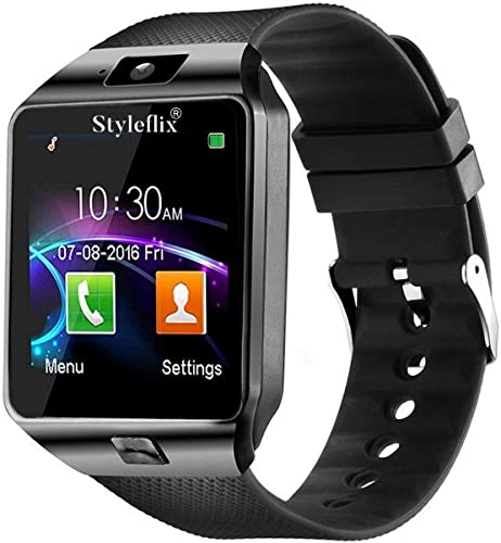 Styleflix Smart Watch Bluetooth with Camera Sim Card Supported Health Fitness Tracker SmartWatch Smart Watch 4g for Mens Boys and Girls Black