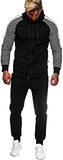 LENXH Men's Zipper Stitching Sports Suit Solid Color Long-Sleeved Hooded Shirt Fashion Sweater Simple Pants
