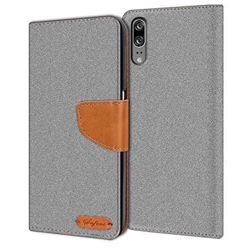 Verco P20 Hülle, Schutzhülle für Huawei P20 Tasche Denim Textil Book Hülle Flip Hülle - Klapphülle Grau