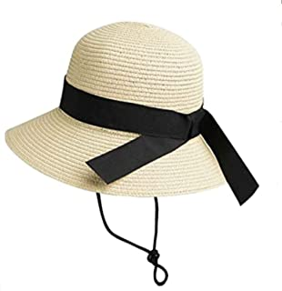 Girls Straw Sun-Hat Summer Beach Cap Foldable Visor Floppy Hats Wide-Brim with Bowknot Strap Adjustable