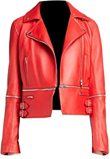 T&I Sydney Red Real Leather Jacket for Women