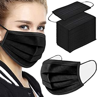 50Pcs Disposable Face Masks, 3-ply Disposable Masks Black Face Mask with Elastic Ear Loop, Medical Masks Breathable Dust P...