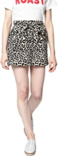 BESIVA Women's Animal Print Belted Shorts