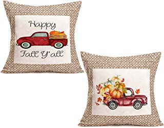 """Fukeen Set of 2 Hand Painted Watercolor Red Pickup Truck Farmhouse Decorative Burlap Pillow Covers Orange Pumpkin Maple Leaves Happy Fall Y'all Quote Throw Pillow Case Cushion Cover 18""""x18"""" Sofa Couch"""