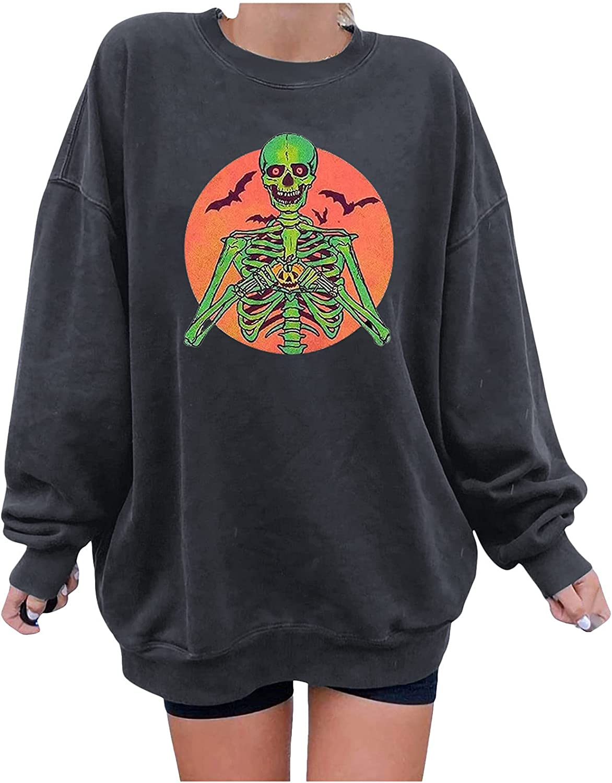 JPLZi Women Halloween Long Sleeve Funny Sweatshirt Top Pumpkin Skull Print Crewneck Oversized Hoodies Casual Pullover Tops