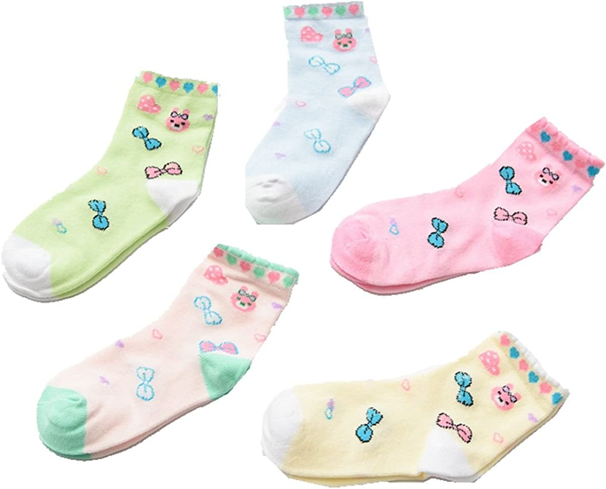 Girls Short Socks Colorful Bowknot Cosy Cotton Basic Crew Kids Sock 5 Pair Pack