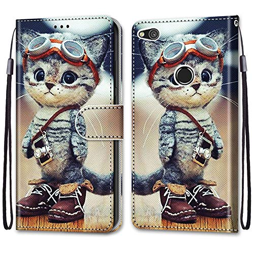 Nadoli Handyhülle Leder für Huawei P8 Lite 2017,Bunt Bemalt Lustig Leder Schuhe Katze Trageschlaufe Kartenfach Magnet Ständer Schutzhülle Brieftasche Ledertasche Tasche Etui