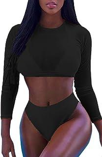 Meyeeka Womens Sexy High Waist Rash Guard Swimwear Long Sleeve 3PCS Swimsuit