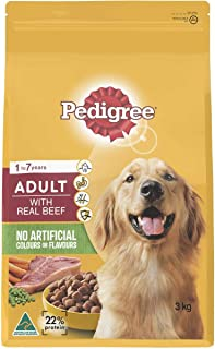 Pedigree Dry Dog Food, Beef Flavour Meaty Bites, 3kg, Adult, Small/Medium/Large