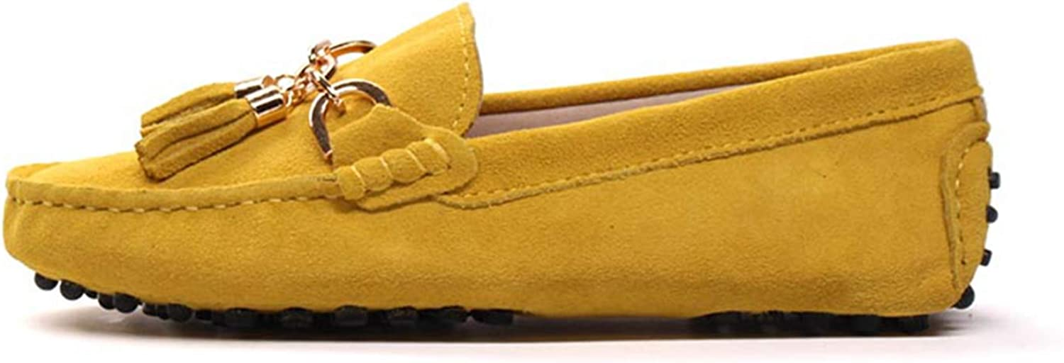 Litllin 2019 Casual Womens shoes Genuine Leather Women Loaferss Fashion Slip On Women Flats shoes Yellow