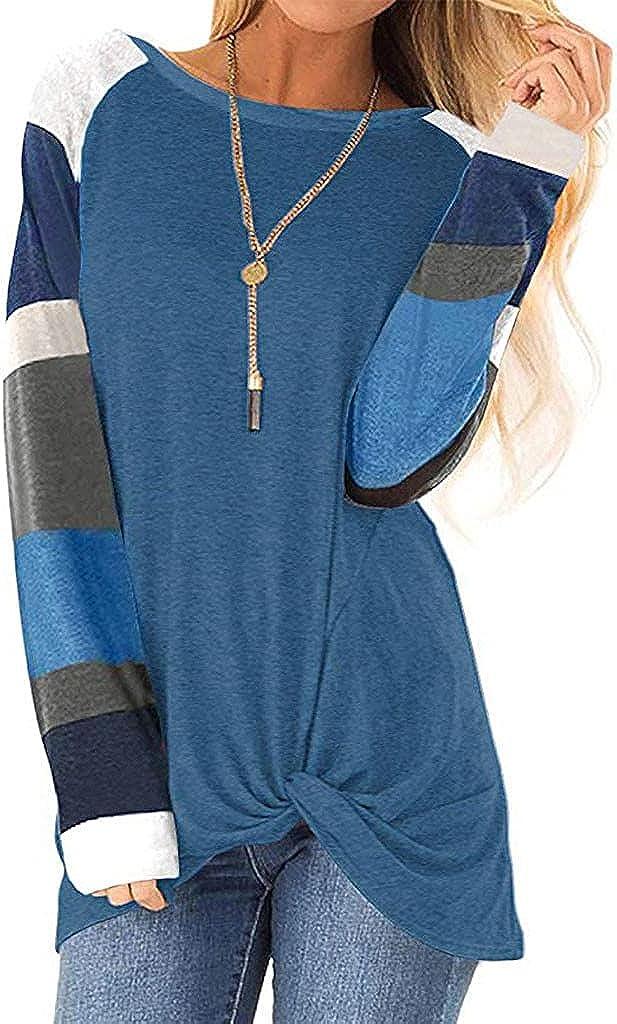 AODONG Sweatshirts for Womens Color Block Sweatshirts Tunic Pullover Tops Long Sleeve Sweat Shirts