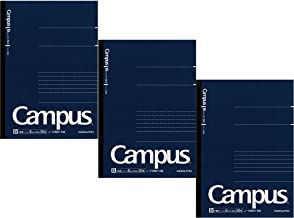 Kokuyo Campus Pre-Dotted Notebook, A5-dotted 6 mm Rule - 30 Lines X 50 Sheets - 100 Pages, Pack of 3 Dark Blue
