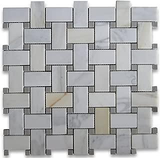 Calacatta Gold Italian Calcutta Marble Basketweave Mosaic Tile Gray Dots 1 x 2 Honed