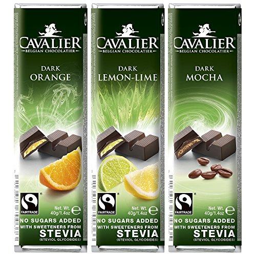 Dafortos Cavalier - Stevia-Schokoriegel-Auswahl III - 3x40g - Orange-Zartbitter, Zitrone-Limette-Zartbitter, Mokka-Zartbitter