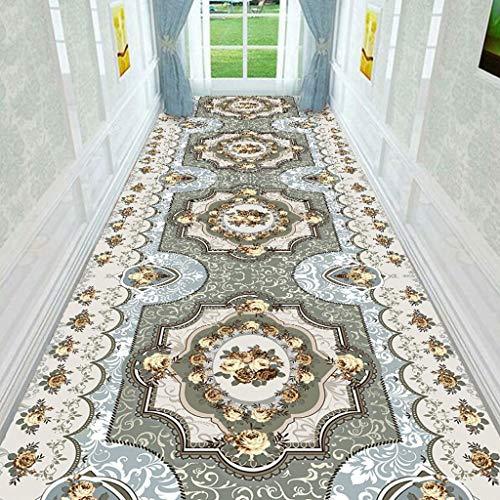 KANGLIPU Teppich Läufer 120x250cm Blumenmuster Brücke Teppich Leicht Abwaschbar für Halle, Flur, Schlafzimmer, Blau