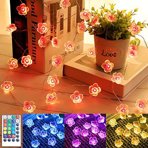 LED Blume Lichterketten mit Fernbedienung, 4 Modi Bunt Lichter für kinderzimmer Weihnachten Hochzeit Geburtstag Innen Draussen Deko, Geschenk für Freundin Geschenk für Mama